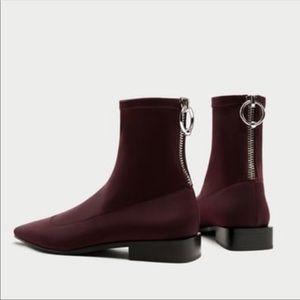 Zara Burgundy Pointed Toe Sock Bootie